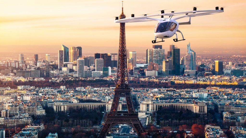 taxi volant paris volocopter premier vol essai jo 2024 futur