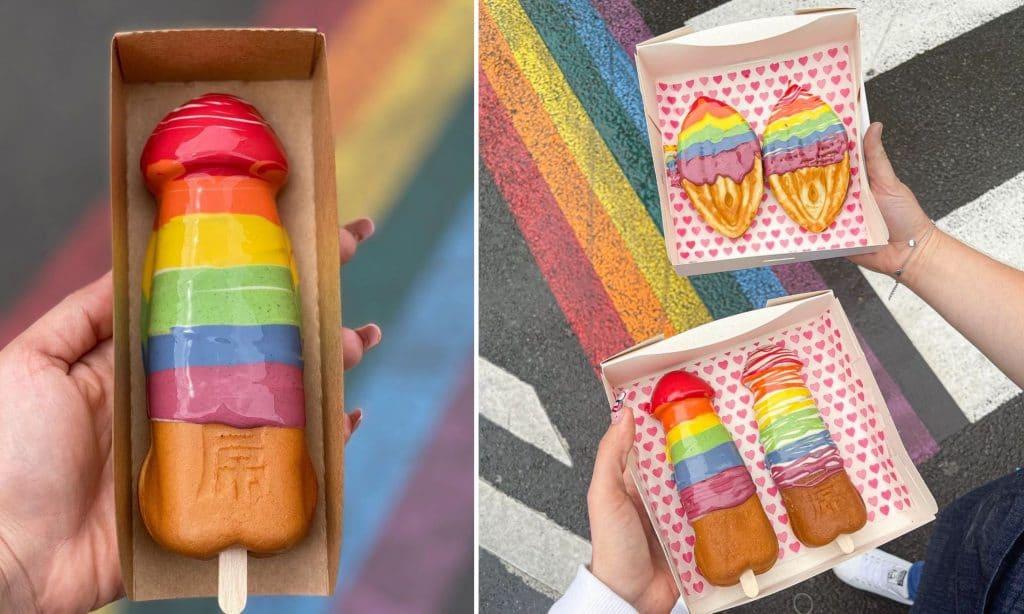 Insolite : des gaufres zizi arc-en-ciel aux couleurs LGBT en édition limitée à Paris !