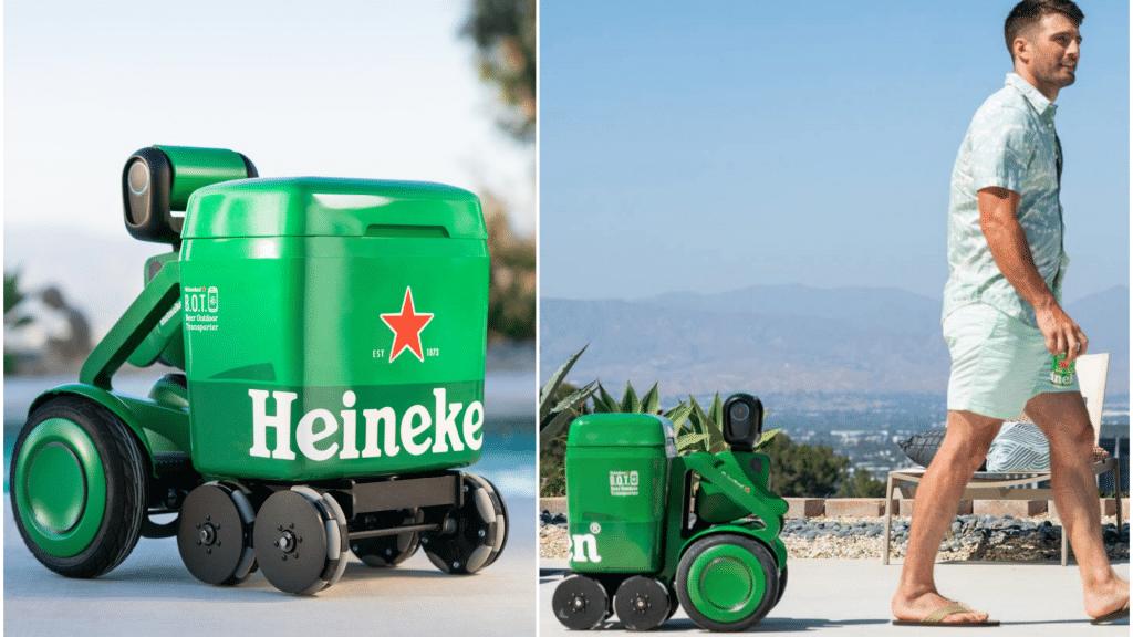 Insolite robot-glacière Heineken bières
