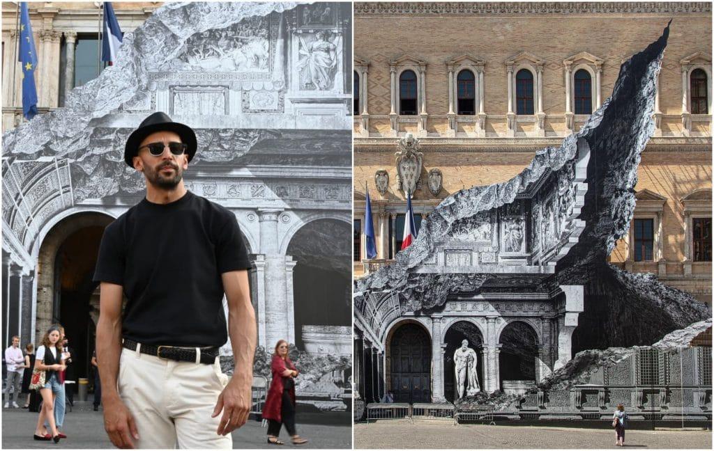 JR oeuvre monumentale trompe-l'oeil Ambassade de France Rome