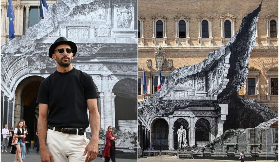JR dévoile un nouveau trompe-l'oeil monumental sur l'Ambassade de France à Rome !