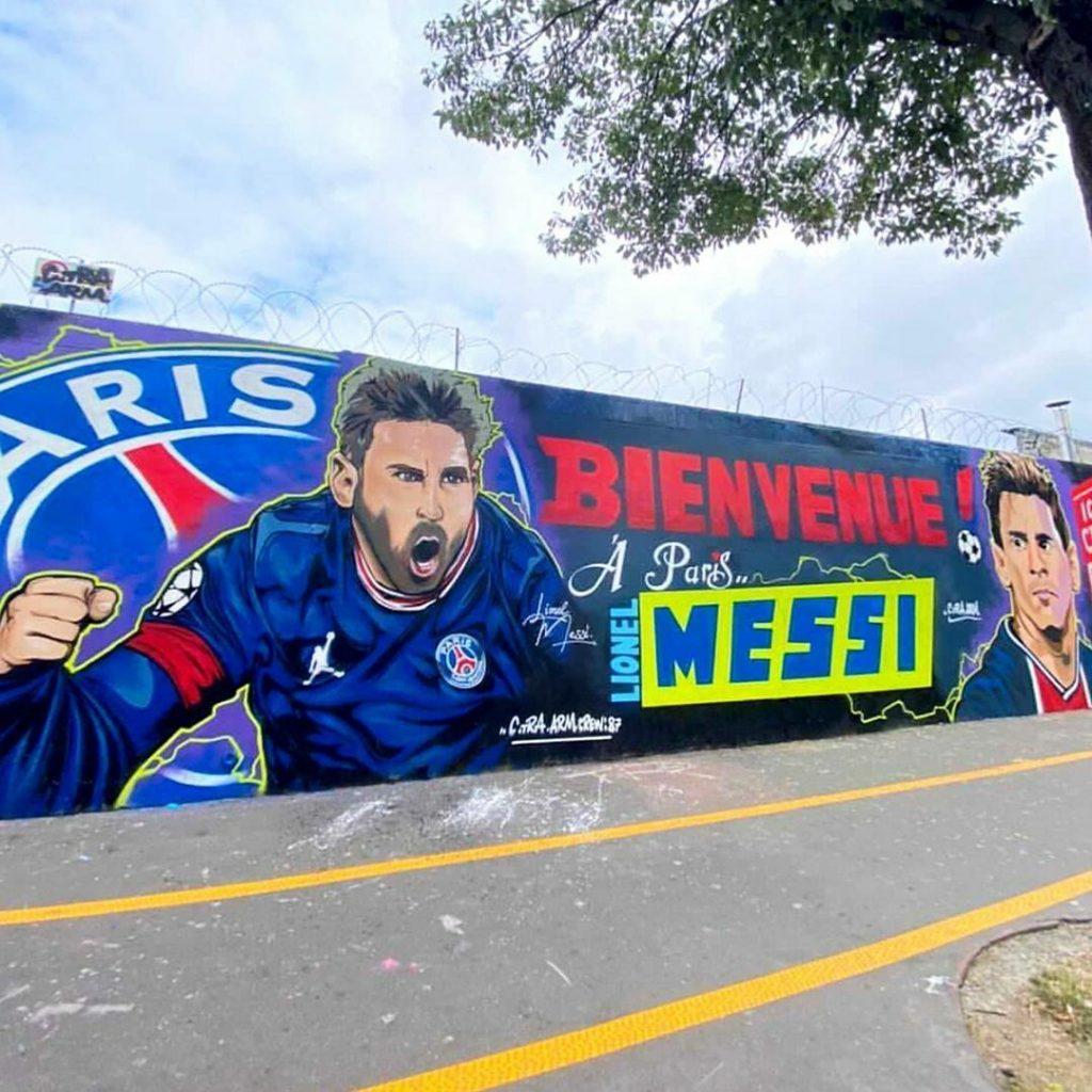 Street art Paris nouveau graffiti Lionel Messi PSG