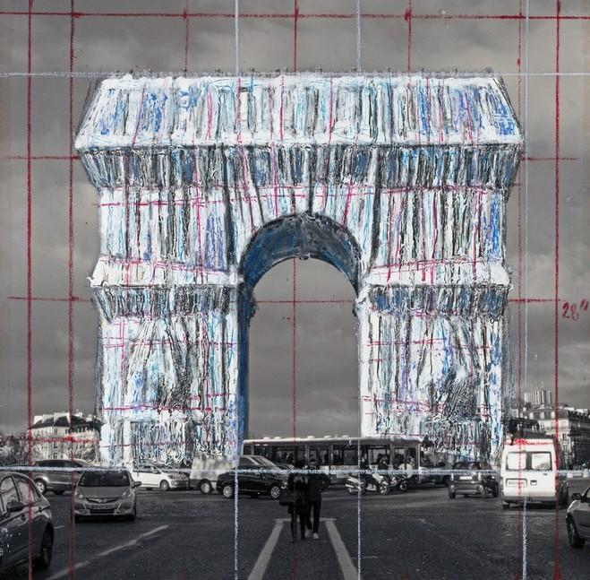 Place de l'Étoile piétonne 3 week-end Arc de Triomphe empaqueté Christo