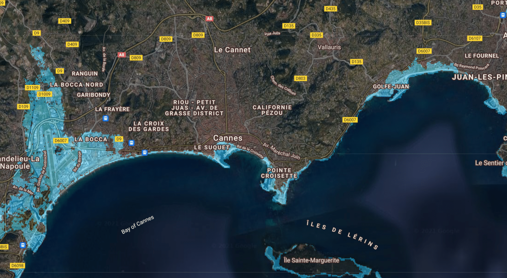 montée niveau de la mer france cannes 3m