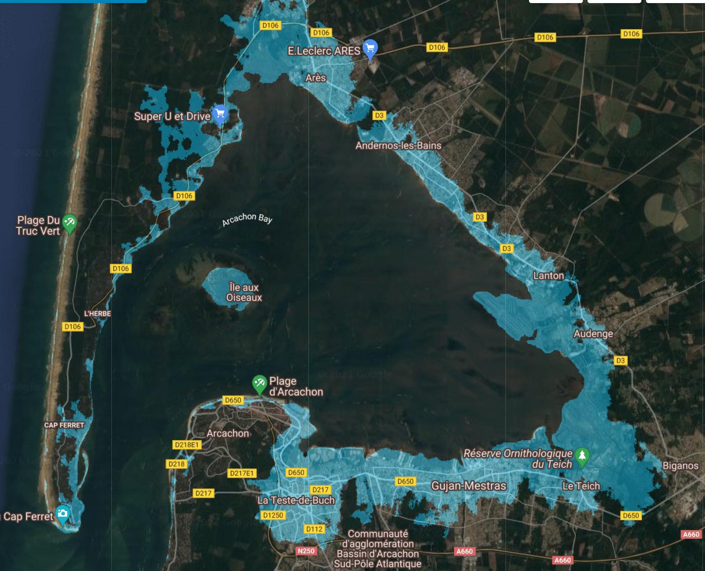 montée niveau de la mer france bassin arcachon 3