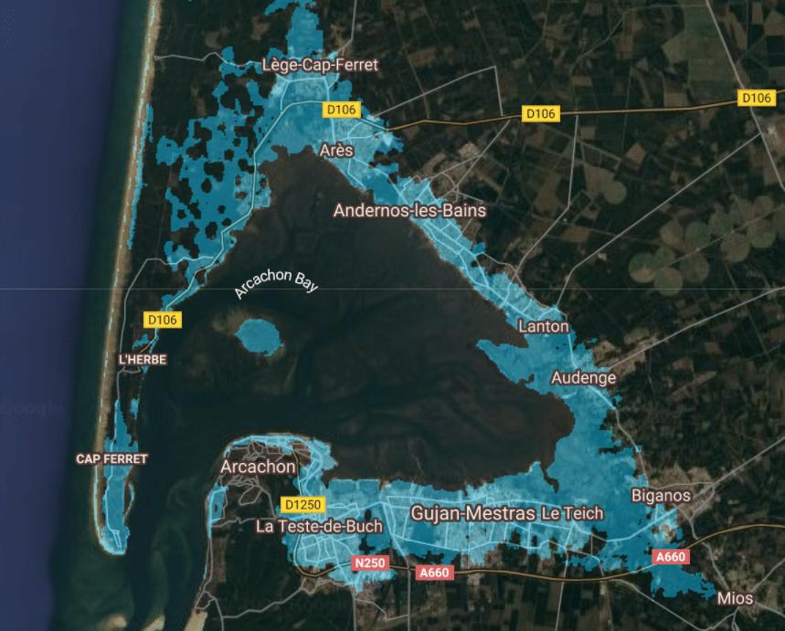 montée niveau de la mer france bassin arcachon 4