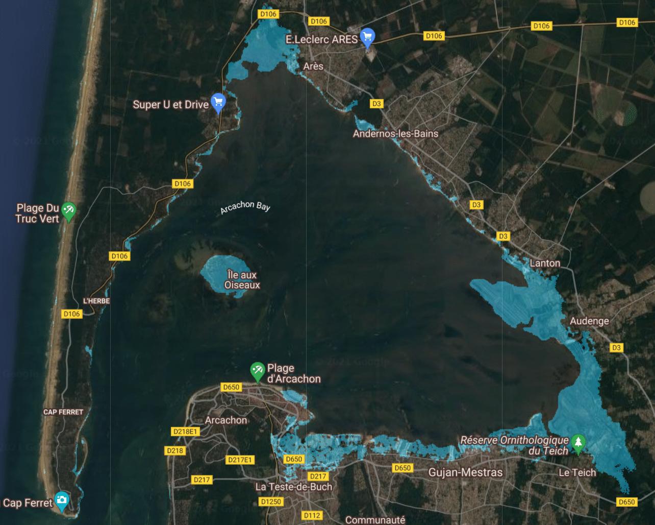 montée niveau de la mer france bassin arcachon 2