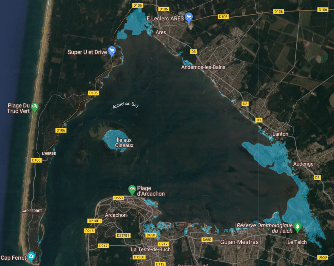 montée niveau de la mer france bassin arcachon 1