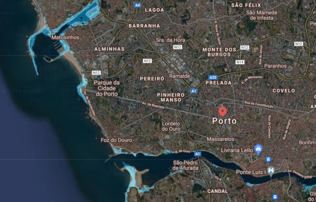Isto seria o Porto, Gaia e Matosinhos com o aumento do nível do mar
