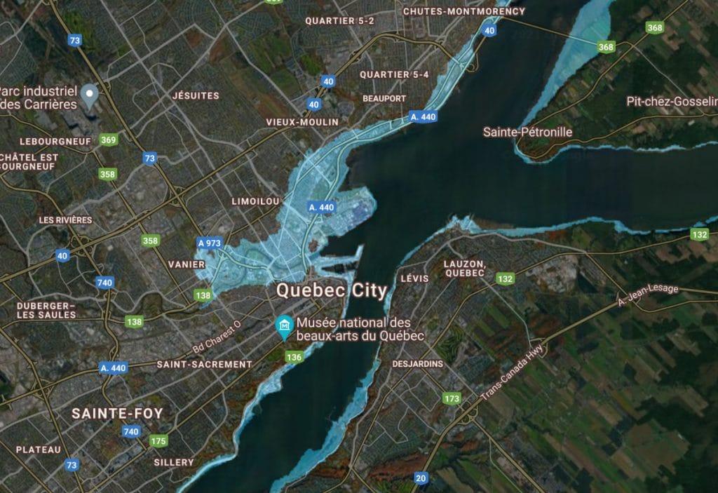 Voici à quoi ressemblerait Québec si le niveau de la mer s'élevait