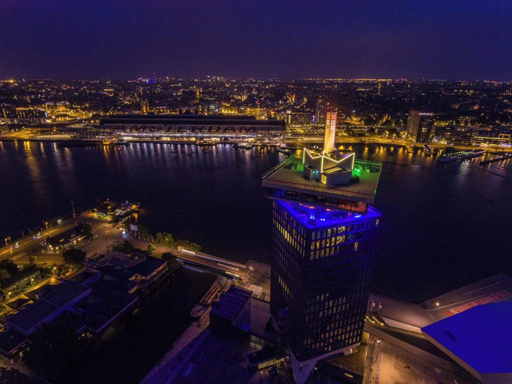 The A'dam Tower Is Illuminated In Rainbow Colours As Ajax Show LGBT Solidarity