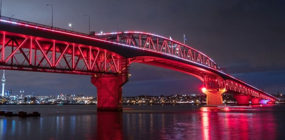 View A Stunning Vector Light Show At Auckland Harbour Bridge All Through This Week For Waitangi Day