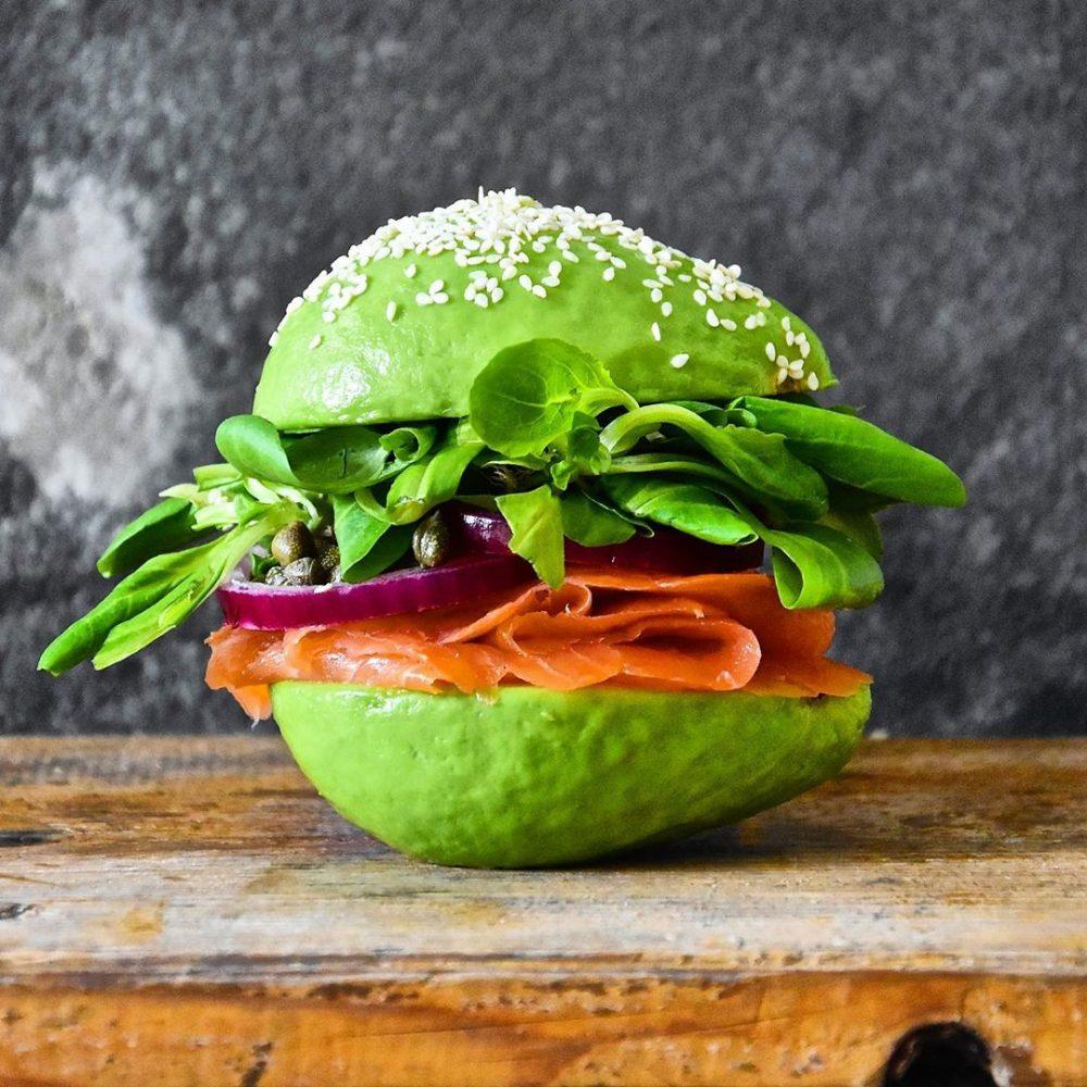 avocado show salmon burger