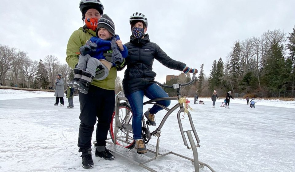 You Can Now Ride An Ice Bike On Bowness Park's New 1.6 km Skating Trail
