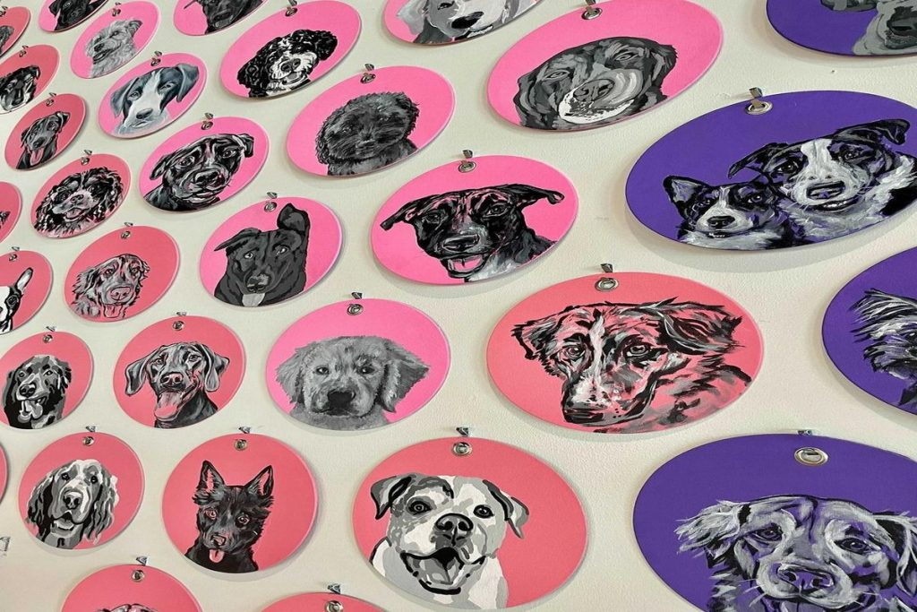 There's A New Art Piece At Skiptown That Features Over 700 Hand-Painted Dog Portraits