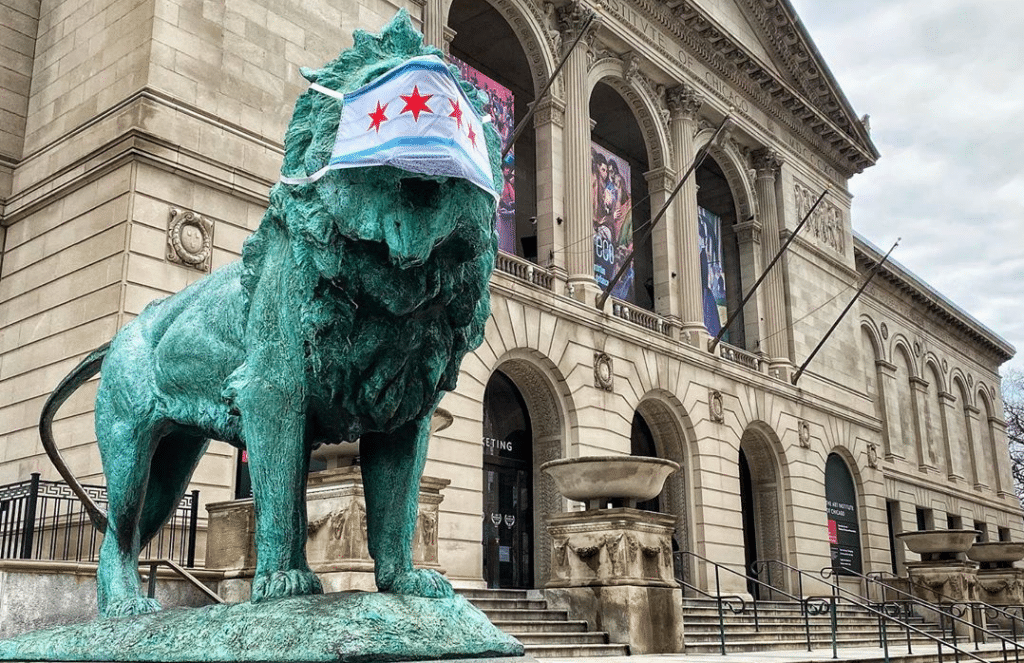 The Iconic Lion At The Art Institute Is Donning A Mask In Solidarity With Chicago