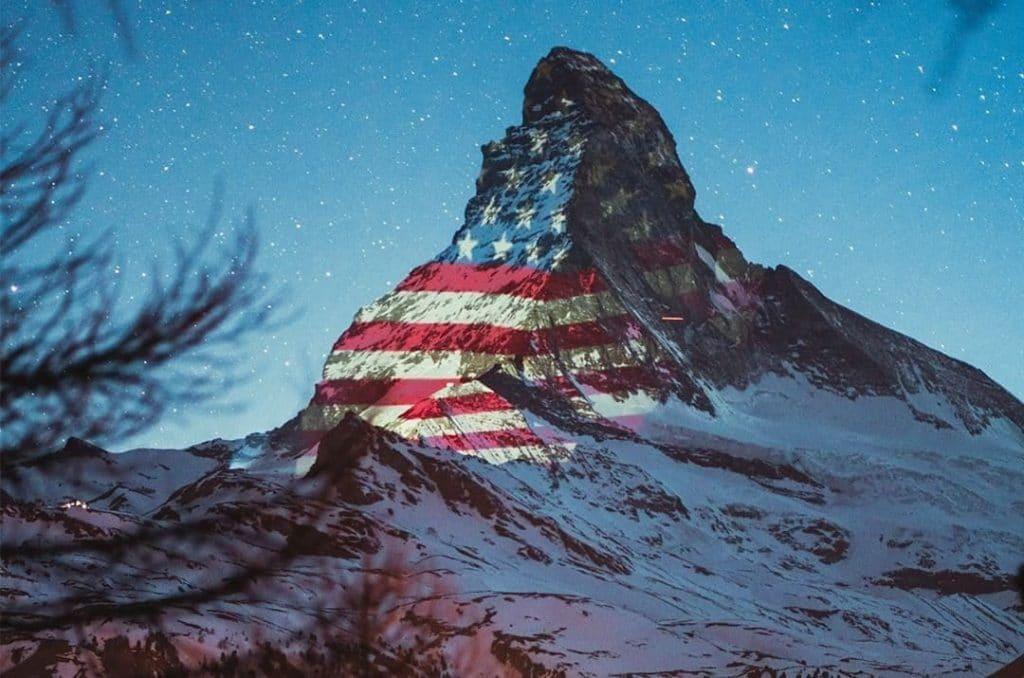 Switzerland Illuminates Stunning Matterhorn Mountain With The U.S. Flag