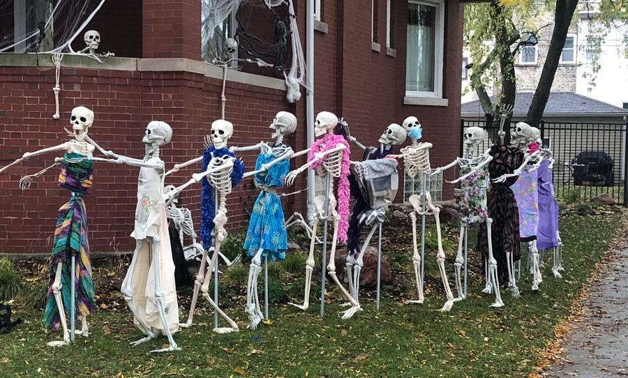 Skeleton Conga Line Taking Neighborhood By Storm