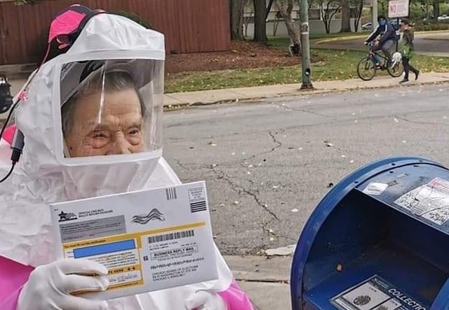 102-Year-Old Former Teacher And Steelworker Votes In Handmade Hazmat Suit