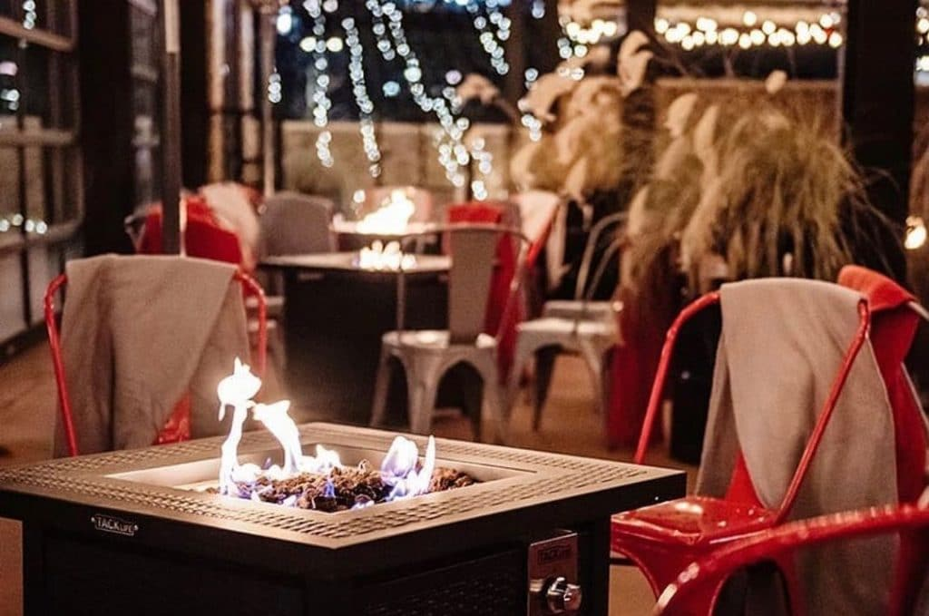 Drink Peanut Butter Spiked Hot Chocolates By Bonfire Tables At This West Loop Winter Wonderland