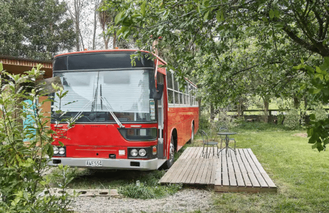 You Can Spend The Night In A Lovely Old Revamped Tourist Bus Airbnb In Christchurch