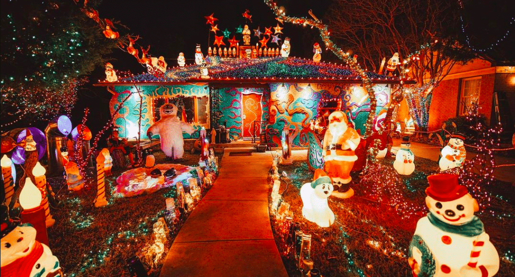 The Extravagantly Trippy Light Display At This East Dallas Home Is Something Out Of 'Alice In Wonderland'