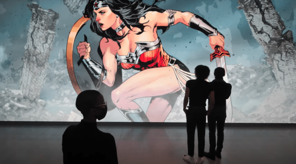 Larger-Than-Life 'Wonder Woman' Exhibit On Display At AT&T Discovery District