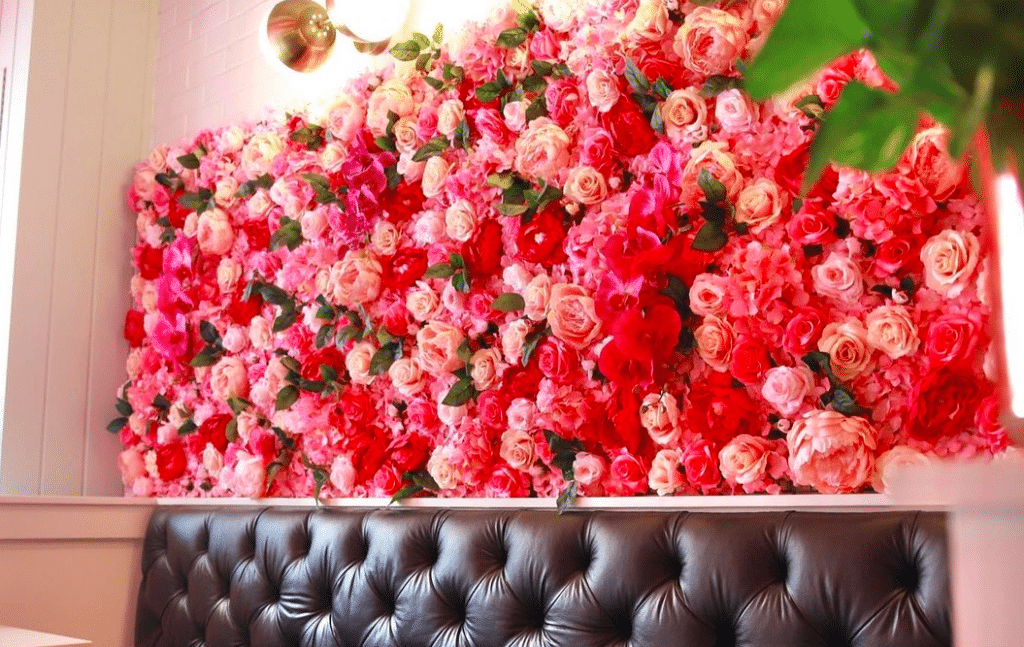 This Neighborhood Wine Bar Has Transformed Into A Flowery Love Cove For Valentine's Day
