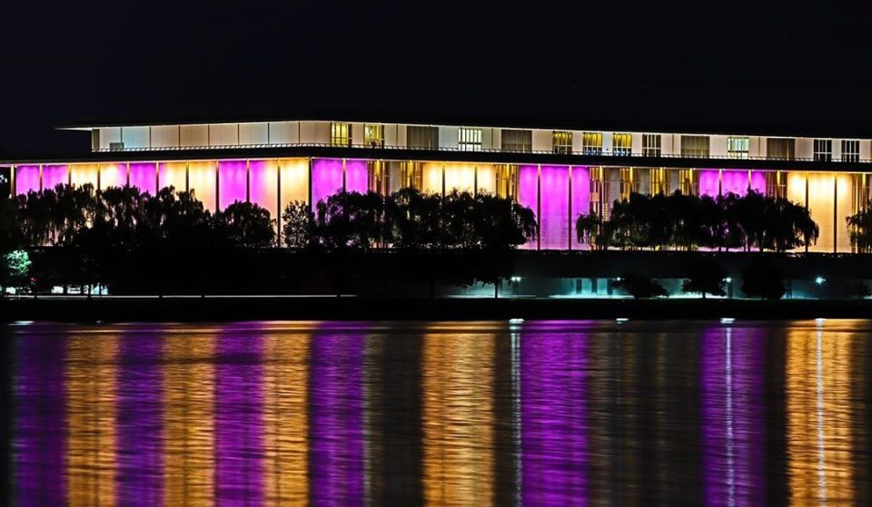 DC Landmarks Lit Up In Purple And Gold To Celebrate The 19th Amendment Centennial Last Night
