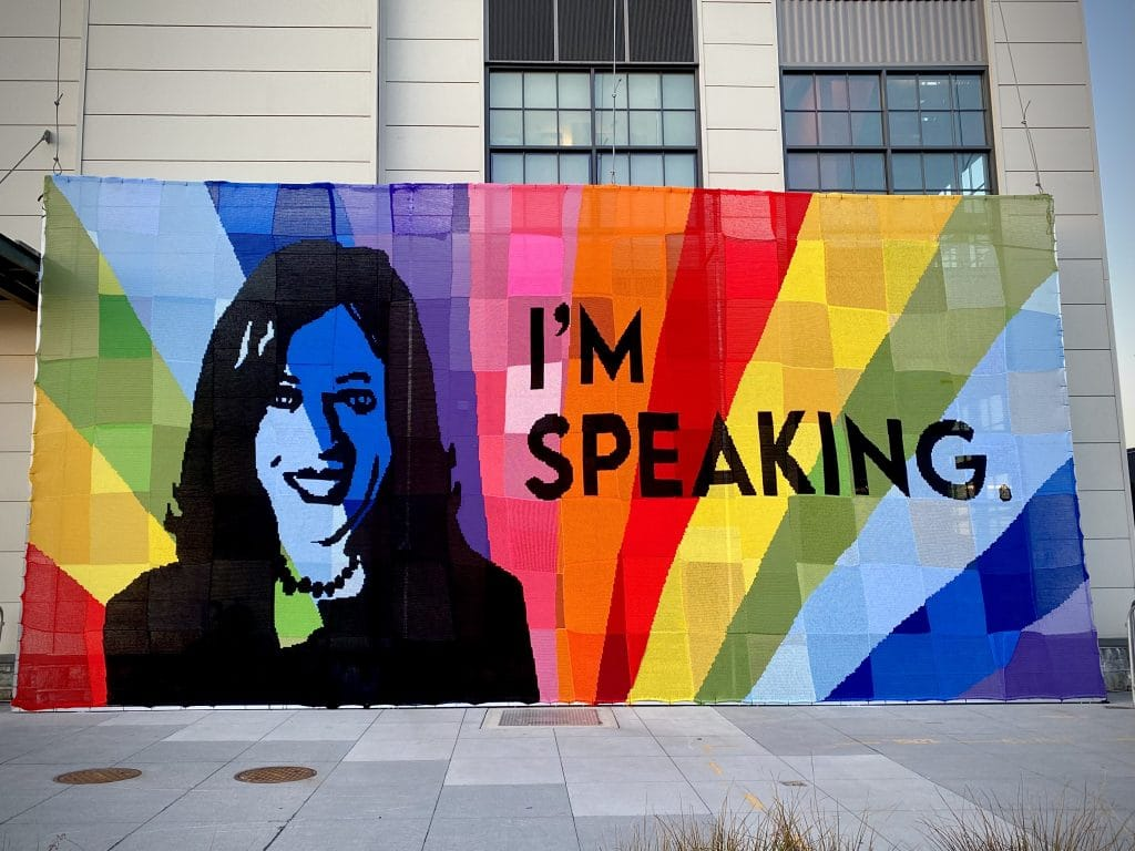 This New Mural Celebrating Vice President Harris Is Entirely Made Of Crochet Squares