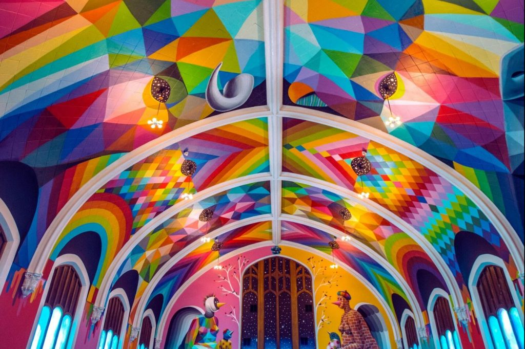 This Unassuming Church Front Is Actually The Technicolor Cannabis Chapel Of Your Dreams