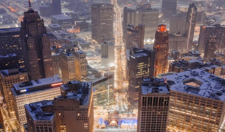 The Detroit Skyline Lights Up Tonight To Mark The 1 Year Anniversary Of COVID-19