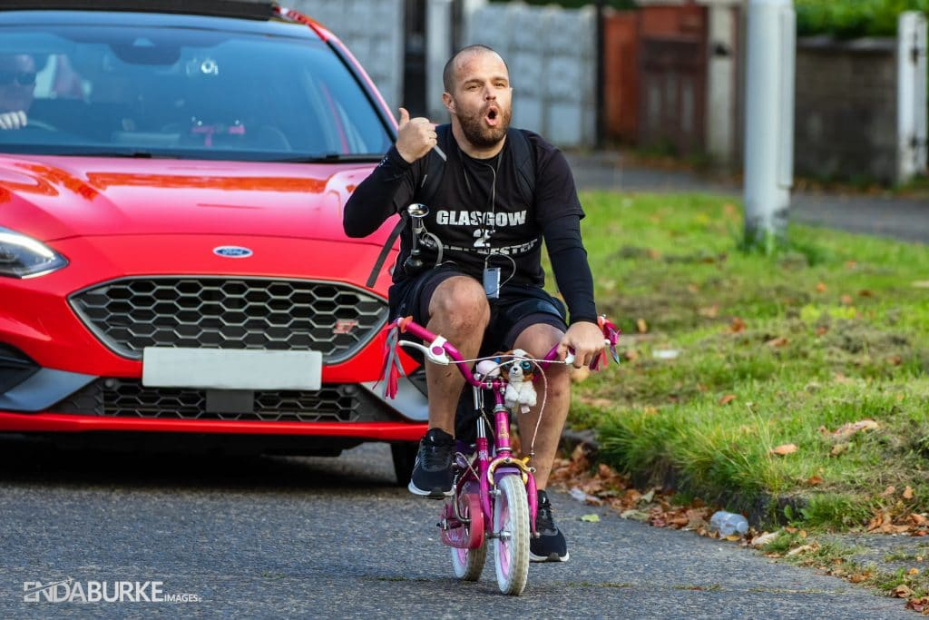 Manc Dad Cycles All The Way To Glasgow On His Young Daughter's Bike To Raise Money For Charity