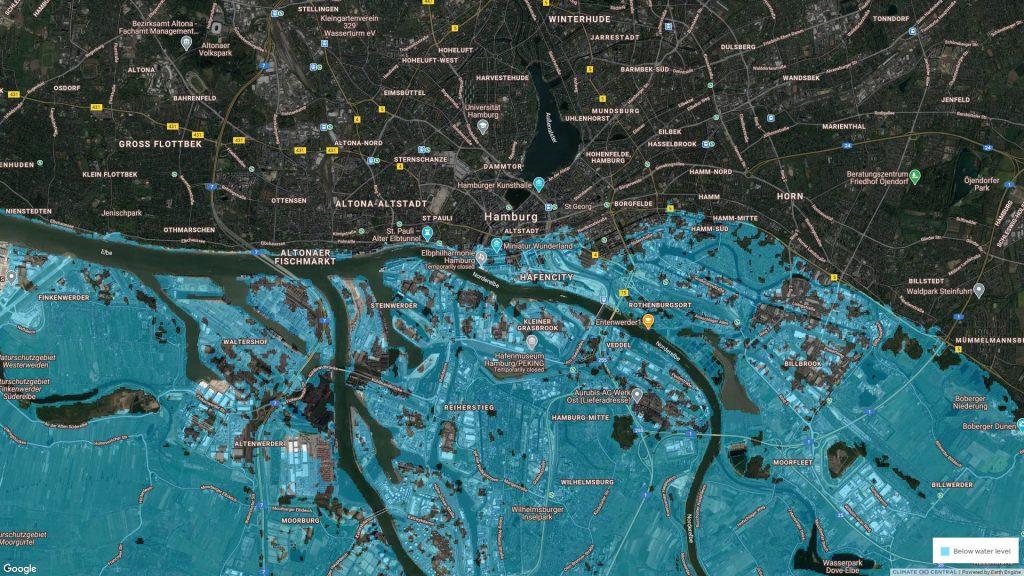 So wird Hamburg nach dem Anstieg des Meeresspiegels aussehen