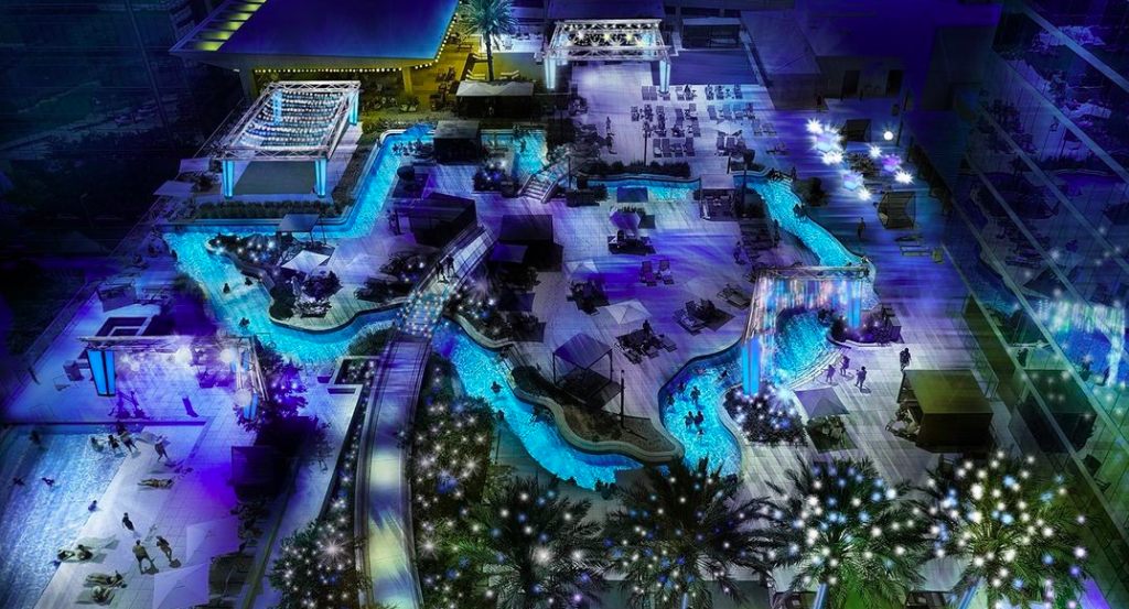 Float Through Spectacular Festive Lights On A Texas-Shaped Lazy River