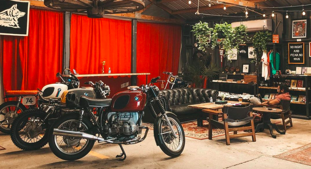 This Heights Coffee Bar Is Parked Inside A Motorcycle Garage • Wolfsmiths Coffee