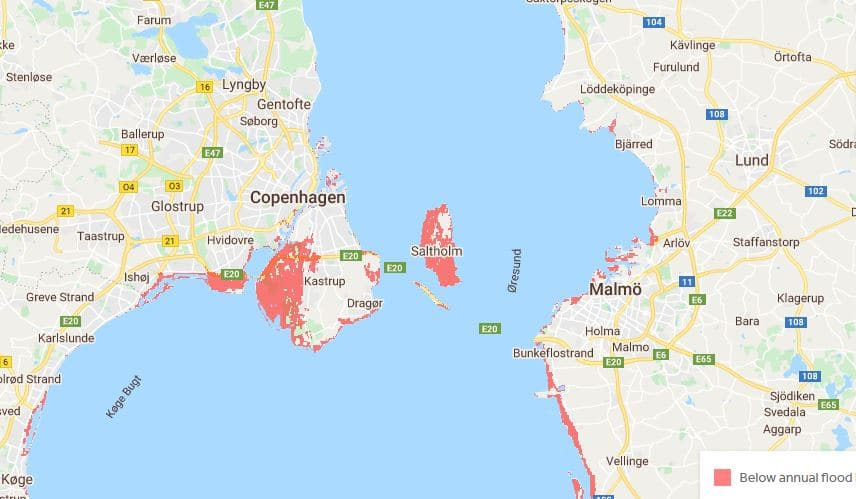 This Interactive Map Shows How Rising Sea Levels Will Affect Copenhagen