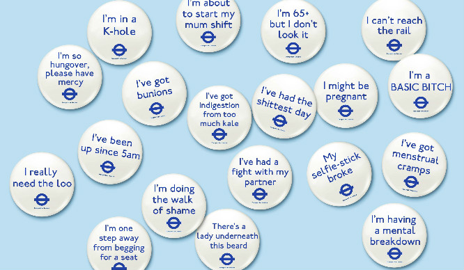 """Hilarious Tube Badges Tell Passengers You're """"So Hungover"""" or """"Have Menstrual Cramps"""""""