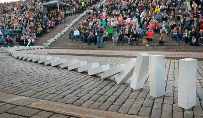 Why On Earth Will There Be Giant Dominoes Toppling Through London?