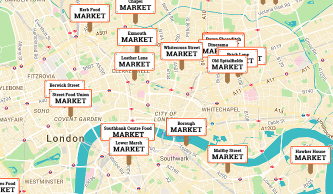 This Interactive Map Shows You London's Best Street Food Markets