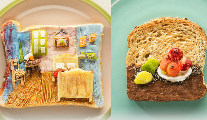 A Gallery Displaying Edible Famous Artwork On Toast Is In London