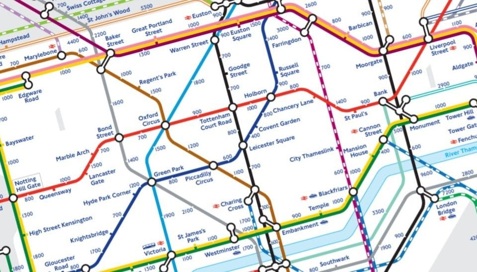 This Tube Map Shows You How Many Steps There Are Between Each Station