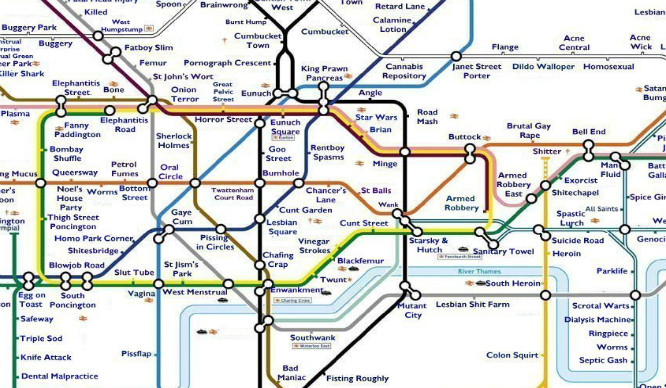 Try Not To Be Offended By This Extremely Rude Tube Map!