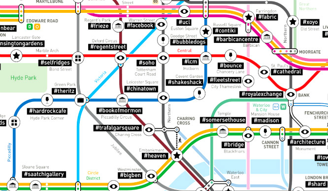 This Tube Map Shows The Most Popular #Hashtags Used In London