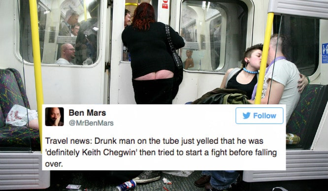 21 Hysterical Tweets About Being Drunk On The Tube
