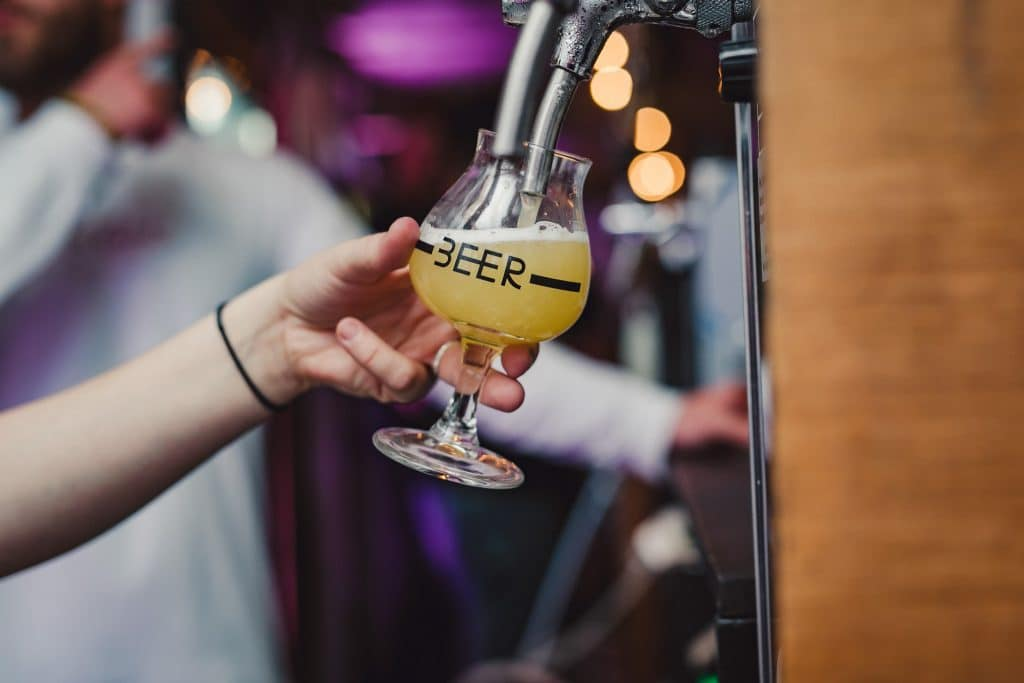 An image of beer poured from a tap at a London drinks festivals