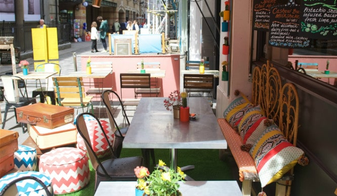 This Beautiful Soho Restaurant Has A Festival-Themed Terrace And It Rocks