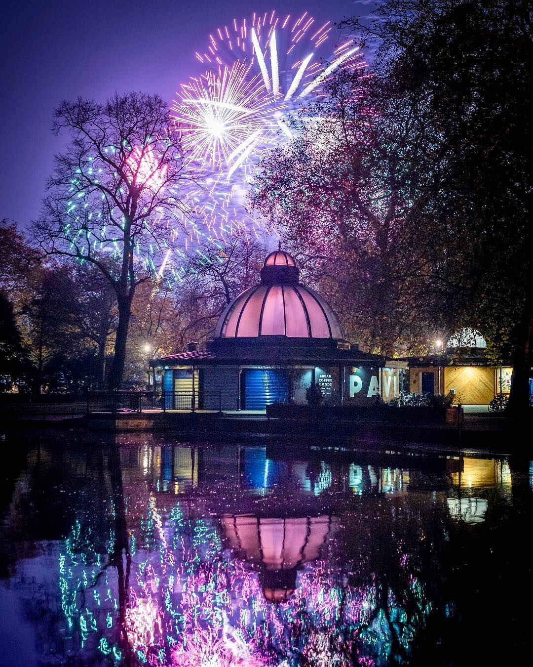 Fireworks reflection in Victoria Park London