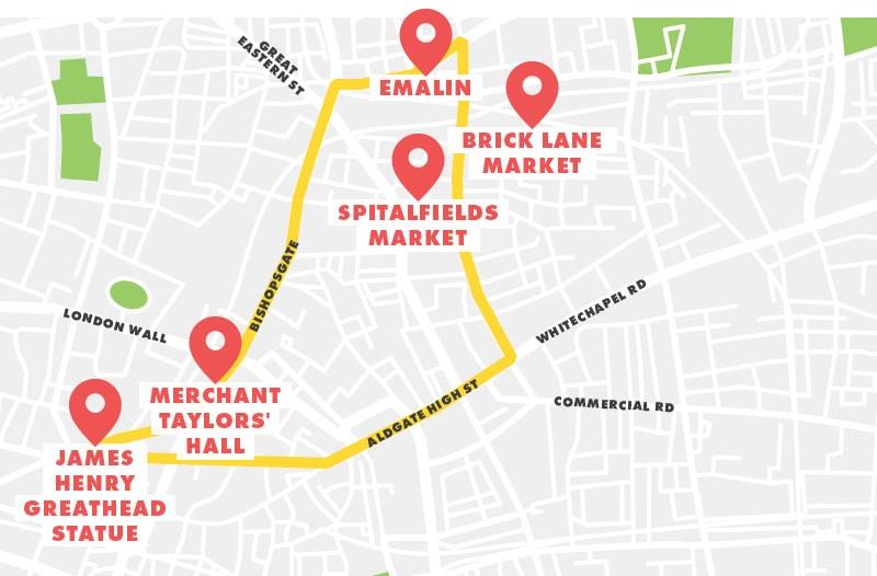 Bank to Brick Lane Running Route