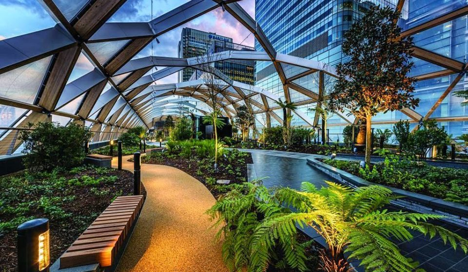 The Covered Rooftop Garden With Its Own Street Food Hall • Crossrail Place Roof Garden